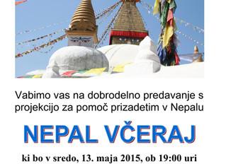 Dobrodelno predavanje za pomoč prizadetim v Nepalu