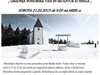 PD Ruše vabi na 7.tradicionalno prireditev GRADNJA POHORSKE VASI IN SKULPTUR IZ SNEGA