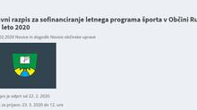 Javni razpis za sofinanciranje letnega programa športa v Občini Ruše za leto 2020