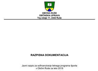 Javni razpis za sofinanciranje letnega programa športa v Občini Ruše za leto 2019