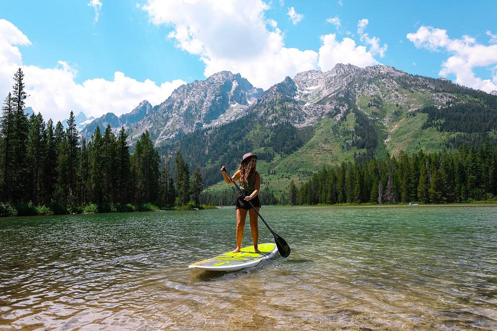 Paddle boarding at the Grand Tetons