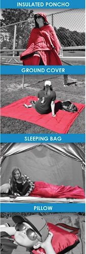 The Kijaro Kubie can be an insulated poncho, grond cover, sleeping bag, and pillow.