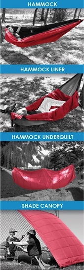 Th Kijaro Kubie can be a hammock, hammock liner, hammock unerquilt, and sade canopy.