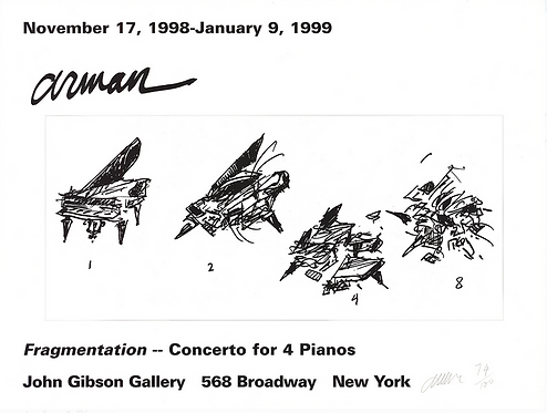ARMAN Signed Poster: Fragmentation-Concerto for 4 Pianos 1998
