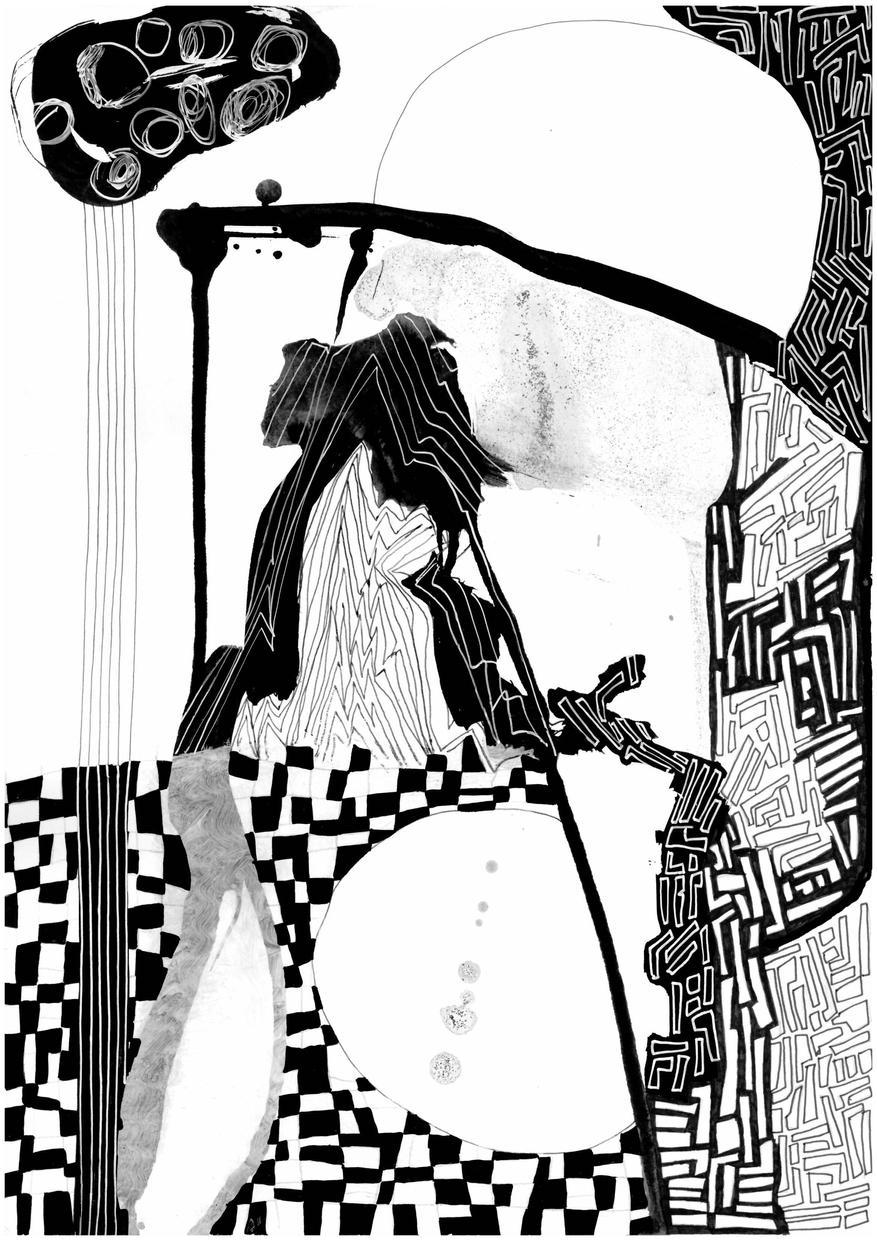 ELLEN CLAES: Untitled (Black And White), 2020