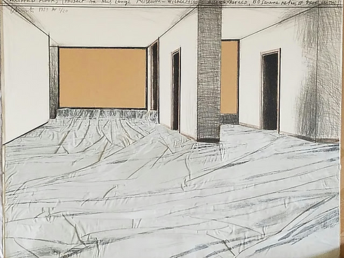 """1983: """"Wrapped Floors"""" Artists Proof Collage by Christo"""