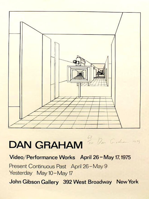 """1975: """"Present Continuous Past"""" Signed Poster by Dan Graham"""