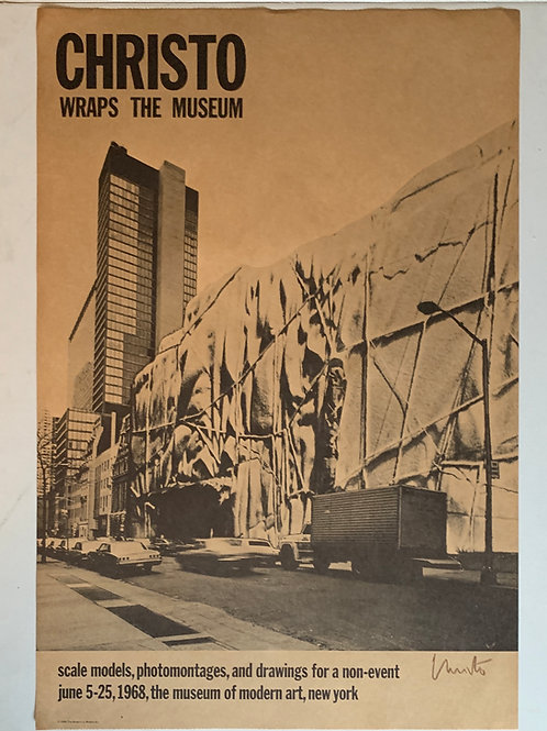 """1968: """"Christo Wraps The Museum"""" Signed Poster by Christo"""