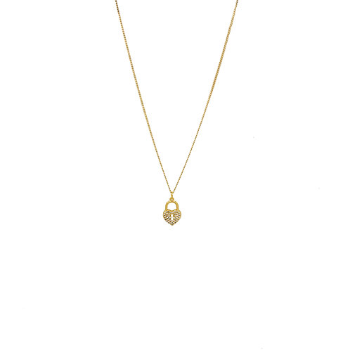 Amour Lock Gold Pendant Necklace
