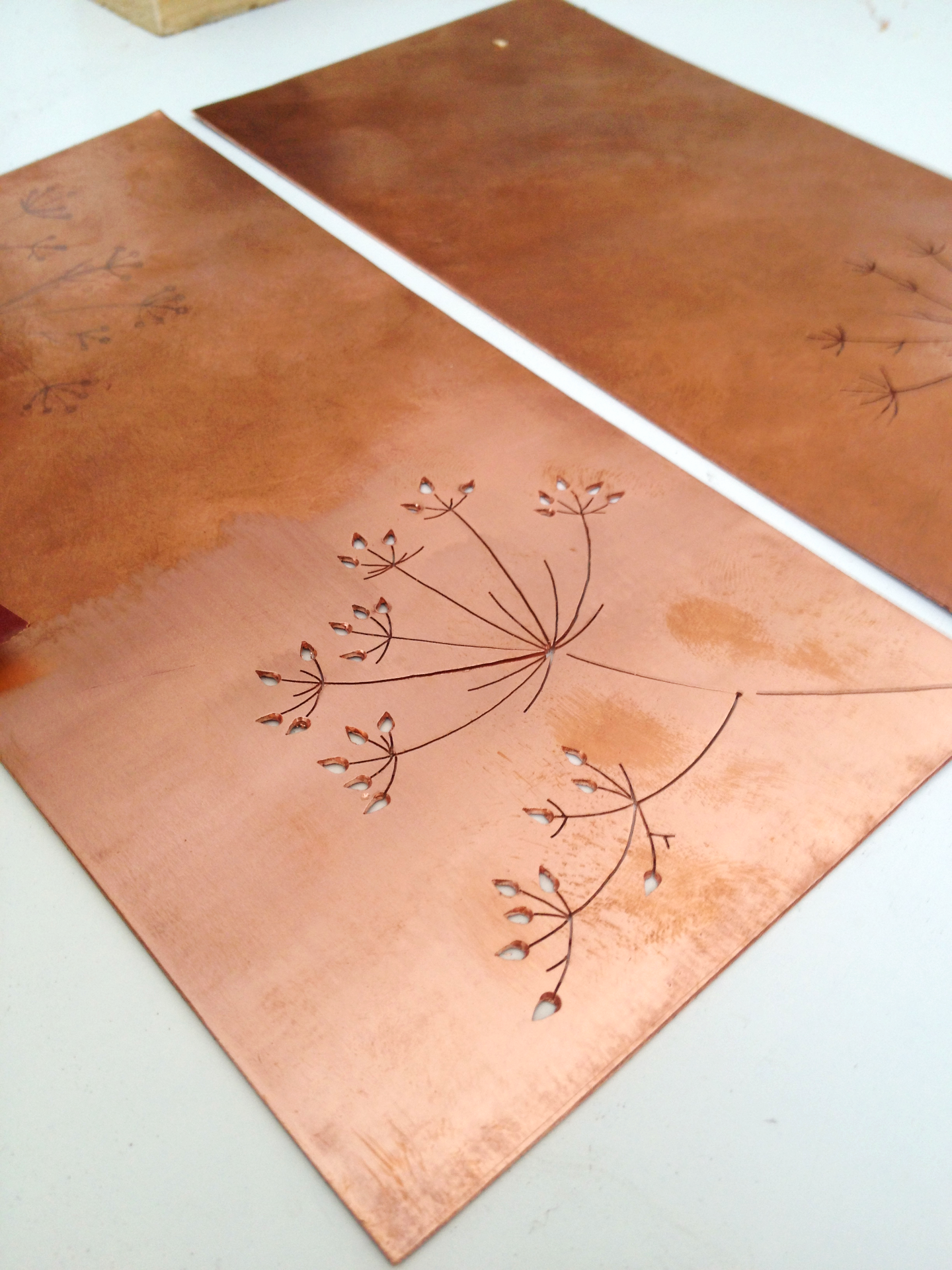 Copper plate fretwork  by hand