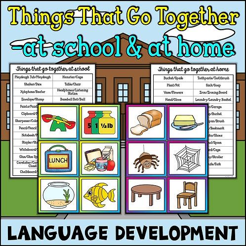 School house with things that go together language development puzzles