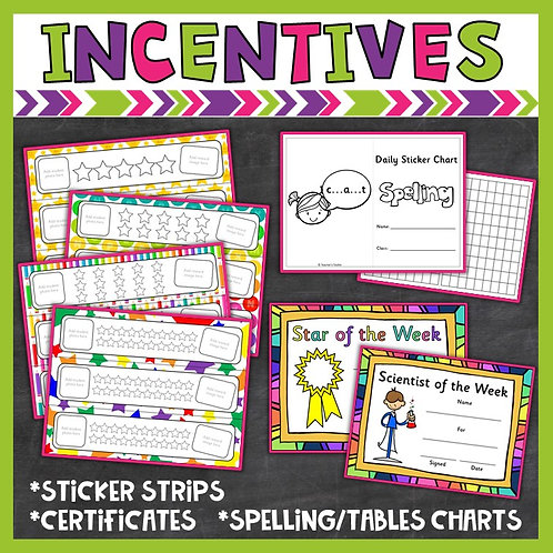Image of rewards and incentives for spelling and classroom management