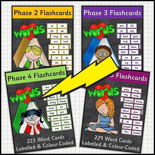 Phonics: Word Flashcards in Phases Mega Bundle