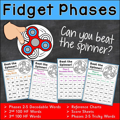 Image of fidget spinner, vocabulary and child's finger