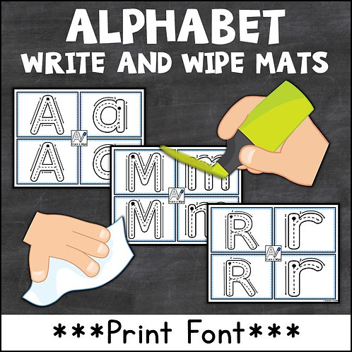 pen and cloth to use with alphabet write and wipe mats