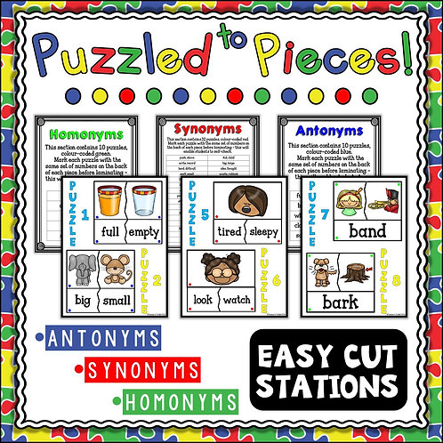 Image of puzzles for antonyms, synonyms and homonyms