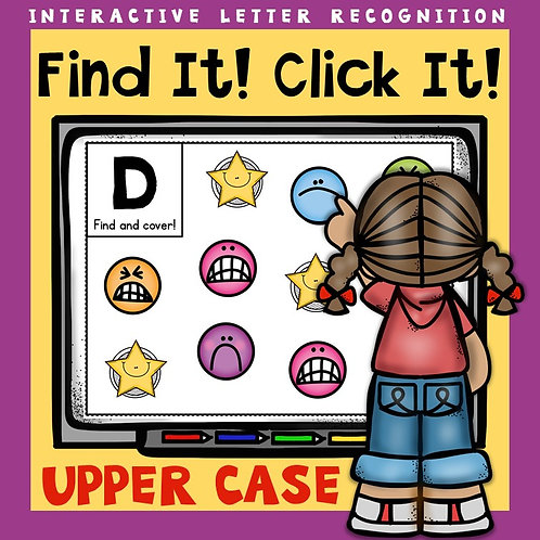 children using interactive alphabet game for upper case letters