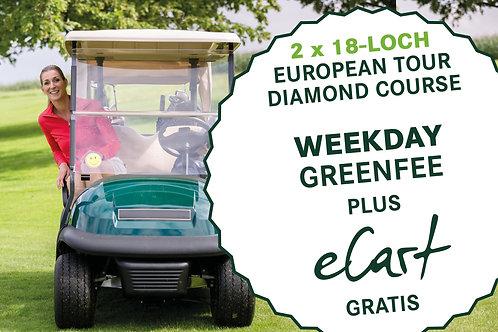 2 x 18-Loch European Tour Diamond Course (Weekday Greenfee) inkl. gratis E-Cart