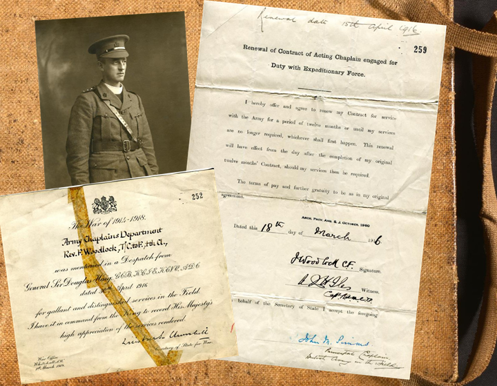 Collage of a photograph and two mostly typed documents that have been completed in manuscript