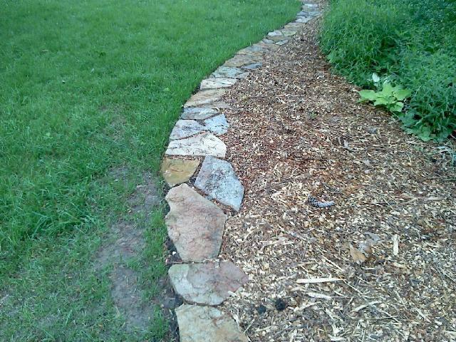 Flagstone Lining a Garden