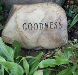 Goodness Engraved Round Creek Rock