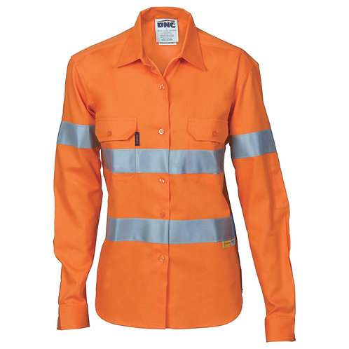 DNC Ladies HiVis Cool-Breeze Cotton Shirt with 3M R/Tape - Long sleeve (3785)