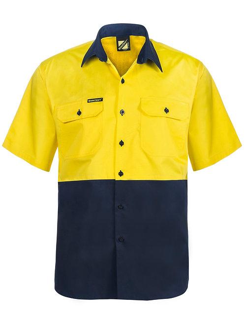 Workcraft Lightweight Hi Vis Two Tone Vented Short Sleeve Shirt