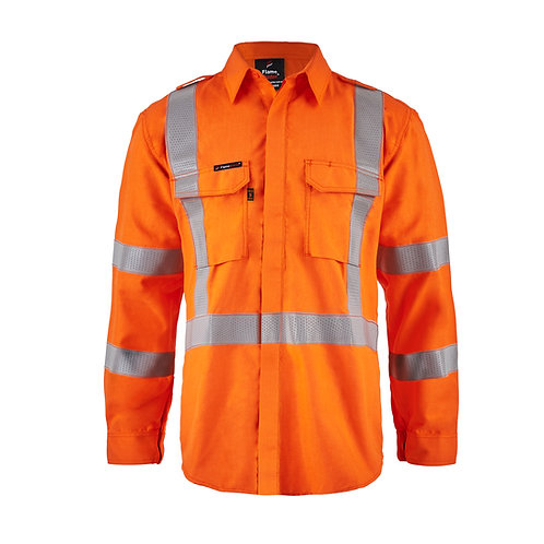 Flamebuster NSW Rail open front shirt PPE2, with Gusset sleeves with Reflective