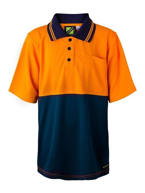Workcraft Kids Hi Vis Two Tone Shirt Sleeve Polo With Pocket