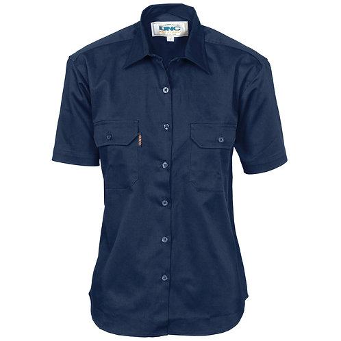 DNC Ladies Cotton Drill Work Shirt - Short Sleeve (3231)
