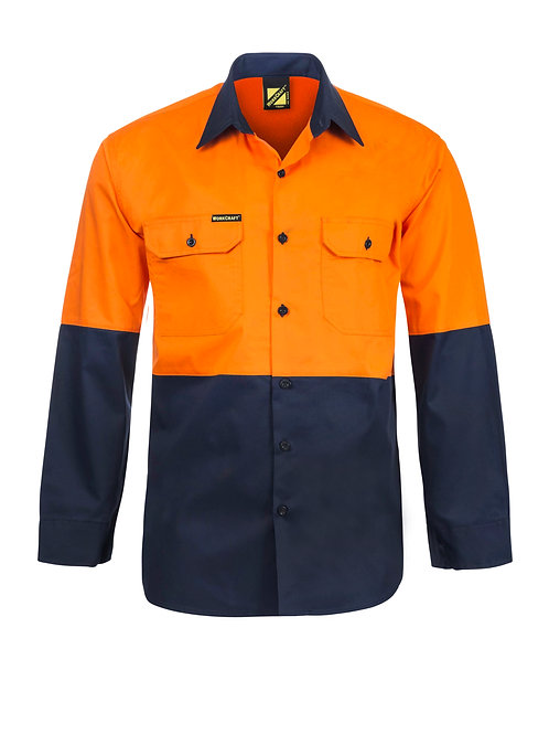 Workcraft  Lightweight Hi Vis Two Tone Long Sleeve Vented Shirt