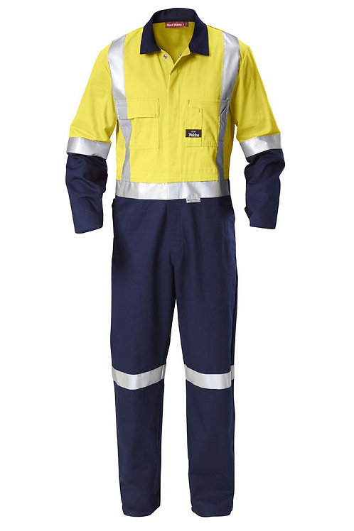 Yakka Cotton Drill Hi-vis Overall with Reflective tape