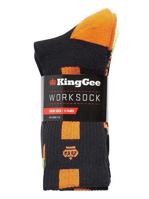 King Gee Men's Crew Cotton Work Sock - 5 Pack