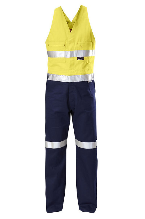 Yakka, two tone Cotton Drill Action Backs with reflective tape