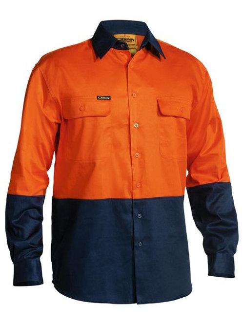 Bisley two tone drill shirt L/SL