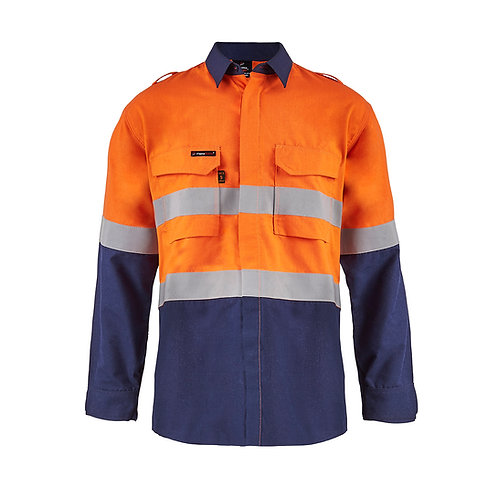 Flamebuster open front shirt PPE2, with Gusset sleeves. Two Tone with Reflective