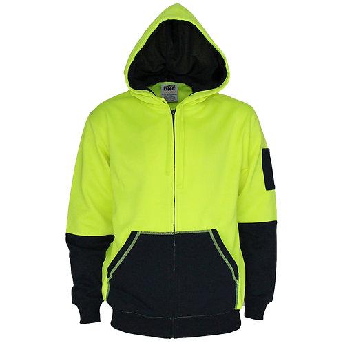 DNC Hivis 2 tone full zip super fleecy hoodie