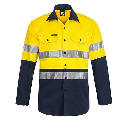 Lightweight Hi Vis Two Tone Long Sleeve Vented Shirt with CSR Reflective Tape