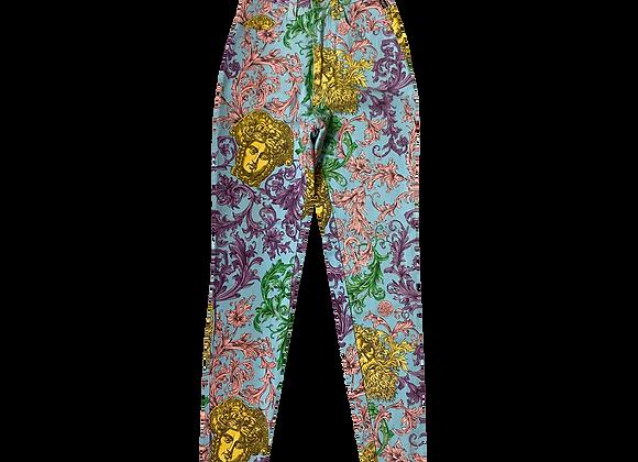 Archive 90's Gianni Versace Couture Acanthus Pattern Medusa Head Pants