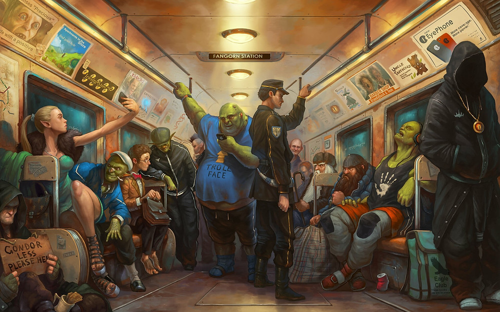 an urban fantasy drawing, magical creatures such as ogres as well as humans are on a subway train