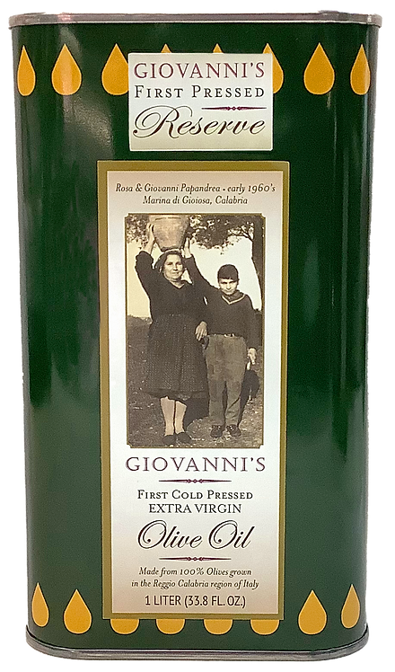 Giovanni's Reserve First Cold Pressed Extra Virgin Olive Oil   33.8 oz/1 ltr tin