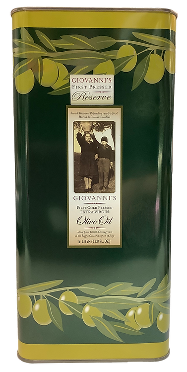 Giovanni's Reserve First Cold Pressed Extra Virgin Olive Oil   169 oz/5 ltr tin