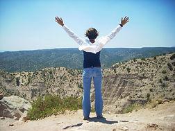 Dana Eakins of Myofascial Healing overlooking Santa Fe