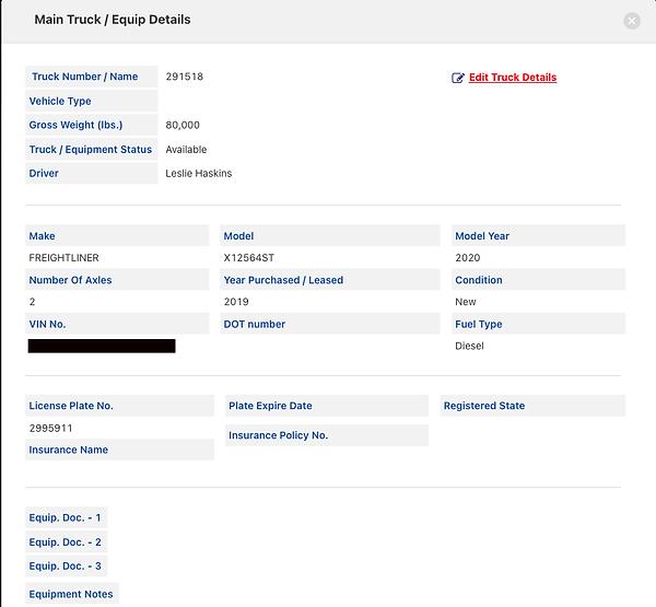 Total Dispatcher Equipment Details