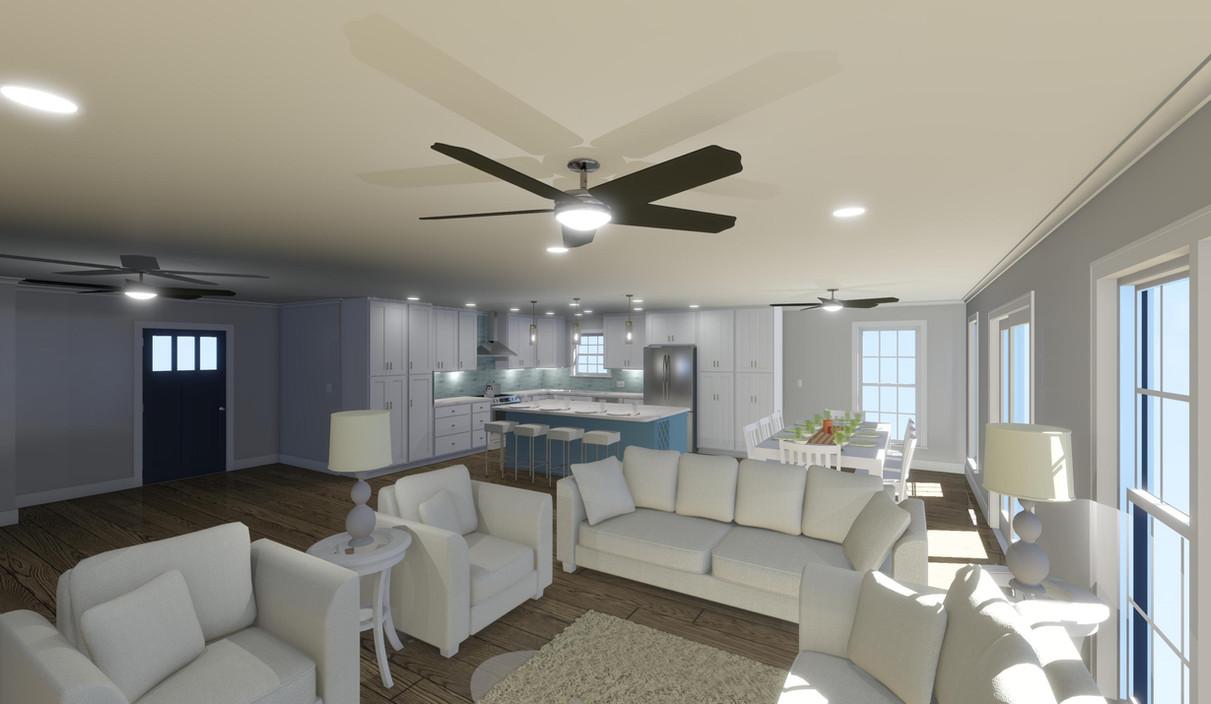 Kitchen & Living Room Rendering