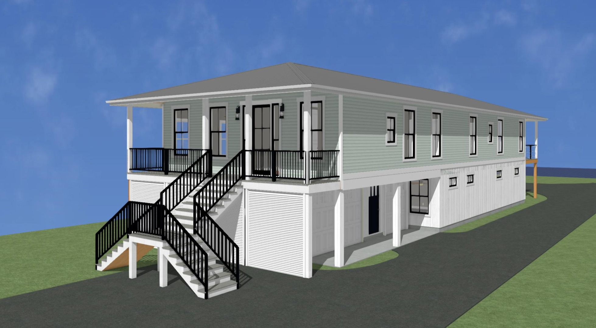 Custom Home Rendering Raised Beach House