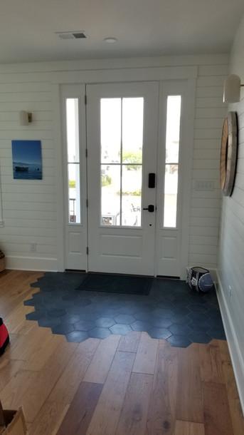 Custom Designed Front Entry with Shiplap & French Oak Hardwood