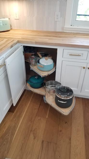 Magic Corner Storage in Custom Kitchen
