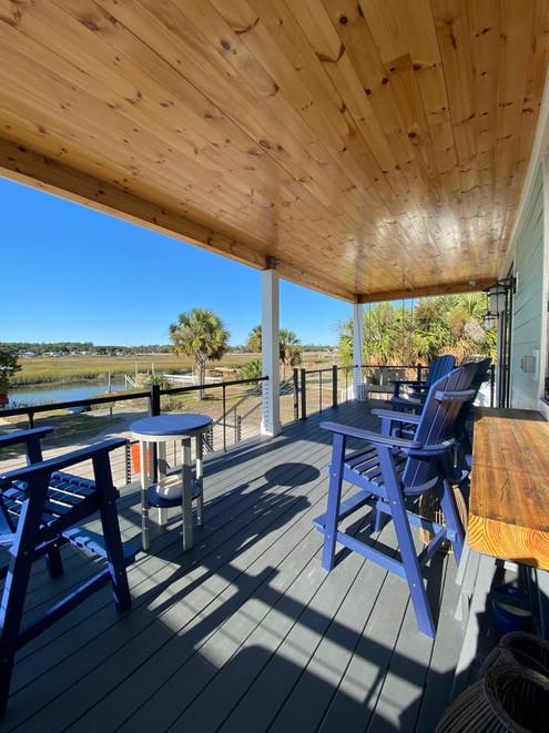 Custom Home Deck with Shiplap Ceiling an