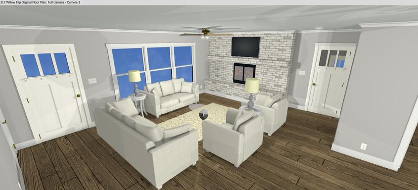 Living Room Redesign Rendering